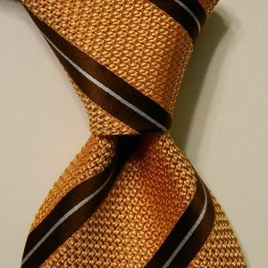ERMENEGILDO ZEGNA Men's Silk Necktie STRIPE Orange
